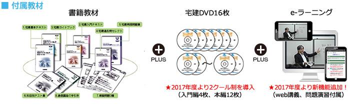 ■付属教材(テキスト+宅建DVD16枚+e-ラーニング)